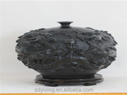 Shandong non-material culture of longshan black pottery handicraft , five dragons pot