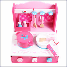 pink cooking bench, cooking wooden toy for kids