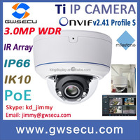 3 megapixel Outdoor Led Array IR dome ip camera motion detect PoE ONVIF SD Card HD WDR IP Camera