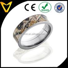 Wholesale High Quality Titanium Camo Rings, Real Oak Camo TITANIUM Ring Unisex Hunting Camouflage 7mm Wedding Band Ring New
