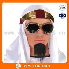 White taffeta kerchief with gold head kerchief, muslim headscarf, muslim scarf