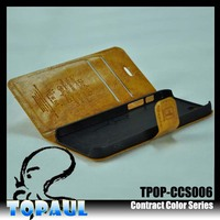 Hot new products for 2014 with custom logo high quality voltage pattern for iphone 4 leather case with holder for stylus