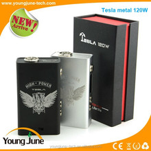 Surprise coming!Newest cool design box mod Tesla 120w metal box mod fit for dual 18650 battery 120w metal box mod