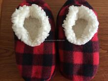 Polar fleece check print slipper