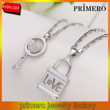PRIMERO Sweet Love Heart Key Lock chain Necklaces Pendants for Lovers,Romantic sterling Silver Lock and Key Pendant Couples