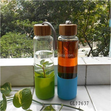 2015 hot BPA free pyrex glass water bottle with bamboo lid