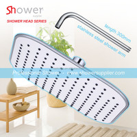 White ABS plastic chrome plated 8 inch squared ceiling mounted overhead shower