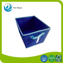 new product ladder-type blue non woven hall foldable storage box With a handle