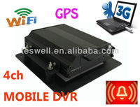 4CH Alarm MDVR / 4CH D1 H.264 Mobile Car Video DVR Recorder GPS WAN Support Wifi
