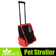 Wide, easy access to pet compartment rolling backpack carry dog