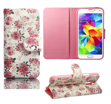 Card Slot For galaxy s4 Flip Stand Wallet Case Cover Floral Leather Printed