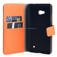 Orange wallet cellphone case with card slots for nokia lumia 640