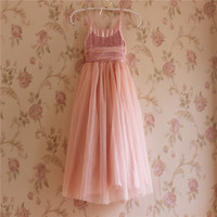 Christmas Day Hot Sale Shining Dress Pink Children Frocks Designs Long Party Dress