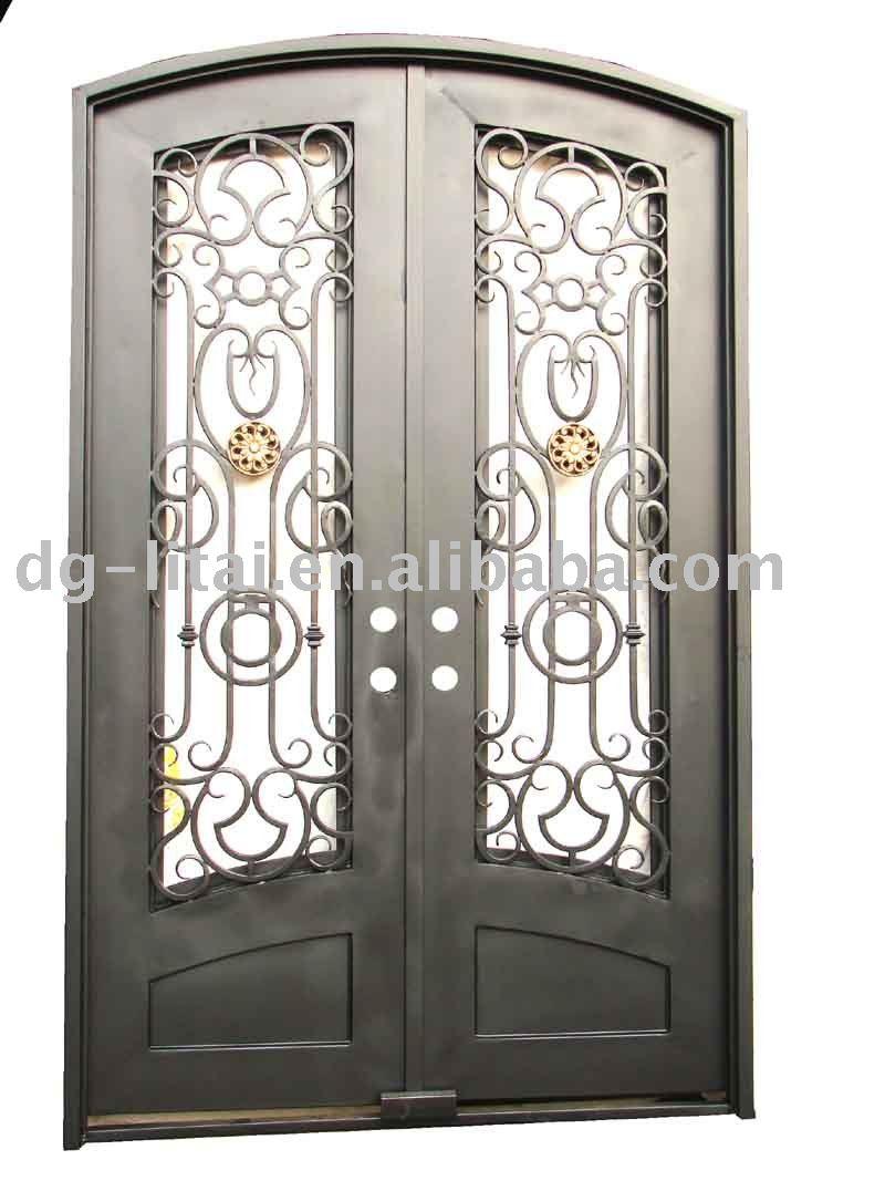Hierro forjado puertas dobles de entrada puertas for Puertas de entrada de hierro