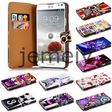 2015 New Printed Wallet PU Leather Case Cover for LG P760 with Stand