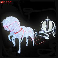 outdoor christmas decoration horse carriage motif 3d LED lighted horse and carriage for street decoration