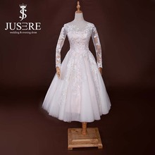 Elegant Lace Appliqued Short Tulle Mature Bride Long Sleeves Blush Tea Length Wedding Dresses With Sleeves