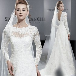 2015 Spring Fashion Wedding Dresses Korea A-Line Lace Applique Long Sleeve Wedding Dress From China