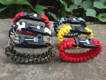 Hand made Camping Hiking Military Paracord Bracelet Survival First Kit Black