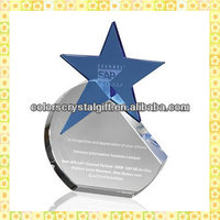 Handicraft Cutting Engraved Crystal Glass Star Trophy Awards For Sports Recommended Gifts
