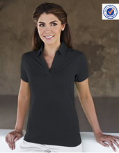 Fitted polyester/ spandex fabric polo-shirt for women