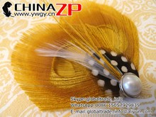 Top selling elegant mini clips for bride cheap price Fascinator Gold Peacock Feather Hair Clip