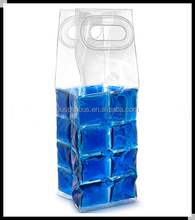 PVC ice wine bag,wine cooler plastic bag,plastic ice bag for cooling bag