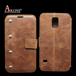 Fashion two mobile phones leather case for samsung galaxy s5 case