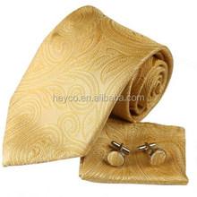 Heyco high quality tie cufflink hanky set silk
