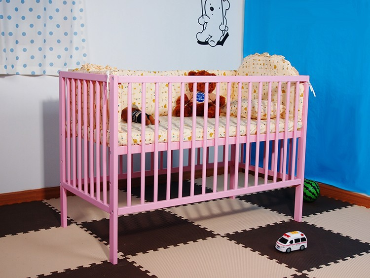 Solid Pine Baby Bed Wooden Baby Cribs India Simple Baby