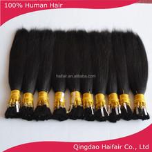 100% remy human hair bulk black color 100g per bunlde, hair bundle material