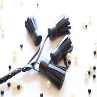 2015 newest design cheap leather black tassel for gift/handbag/keychain