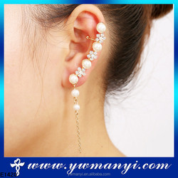 Fashion New Arrival women accessories china flower pearl ear chains for lady