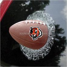 Breakthrough shatter American football 3D car sticker