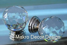 Modern european throne shape crystal cabinet knob 30mm on brass base