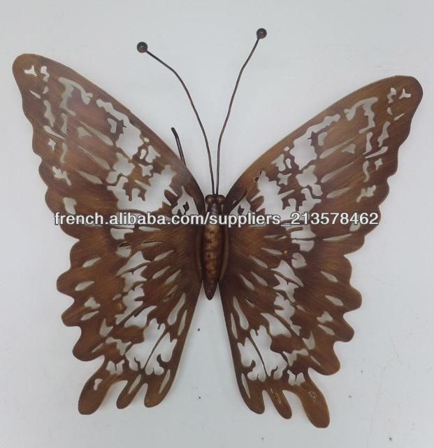 Papillon de fer d coration murale artisanat en m tal id du for Decoration murale papillon