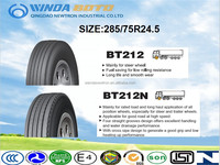 All steel radial TBR truck tyre 285/75R24.5 applicable for all position wheels for high way road and mining road