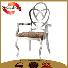 2015 luxury design genuine leather stainless steel chair dining room furniture