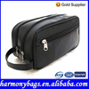 Factory Direct Fashion Black Leather Men Toiletry Bag