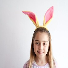 FG-051 Yiwu Caddy Pink Violet Plush Wired Easter Bunny Rabbit Ears Headband Ladies Costume Hair