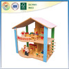 wooden double storey curved railing pink roof toy house