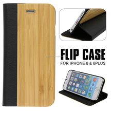 Mobile Phone Case For Iphone Case Wood Wallet/For Iphone 6s Wood Leather Wallet Case