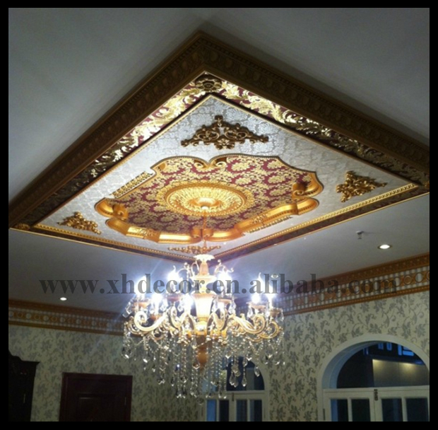 European Style PS Artistic Ceiling Decorations For Living Room Pvc Ceiling