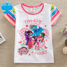 2-6y (G6122) my little pony t shirts cartoon beautiful pony printed kids tshirts children flages brand t shirts for baby girls
