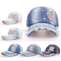 Fashion promotional baseball cap with apple shaped rhinestones