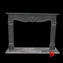 Simple style black marble fireplace mantle