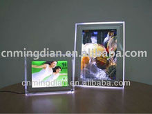 LED acrylic lighting photo fram display, crystal frontlit plexiglass photo frame
