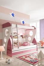 Pink modern MDF bunk bed with bookshelf for kids.