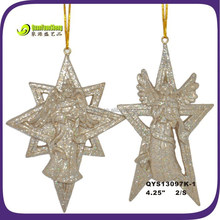 Polyresin sparkling angel figure for christmas tree ornaments