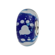 Wholesale Blue Puppy Dog Paw Print Murano Glass Bead with 925 Sterling Silver Tube For European Bracelets